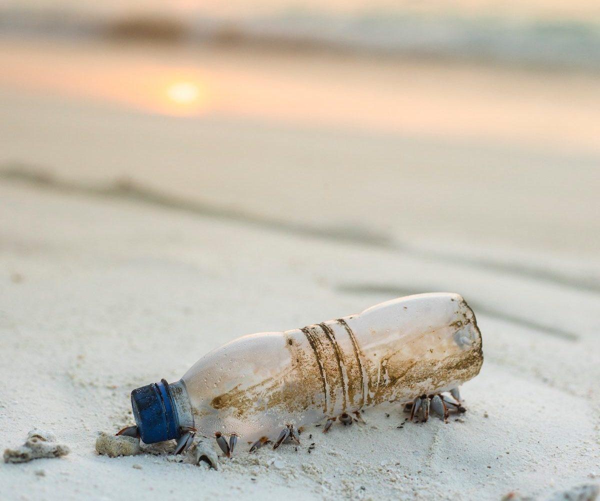 Plastic waterfles op het strand