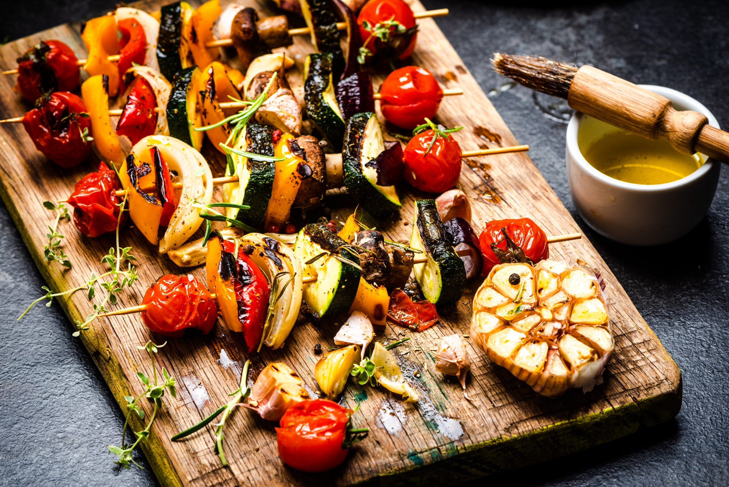 serving grilled bbq vegetables skewers with fresh 6Q7PHM2 scaled